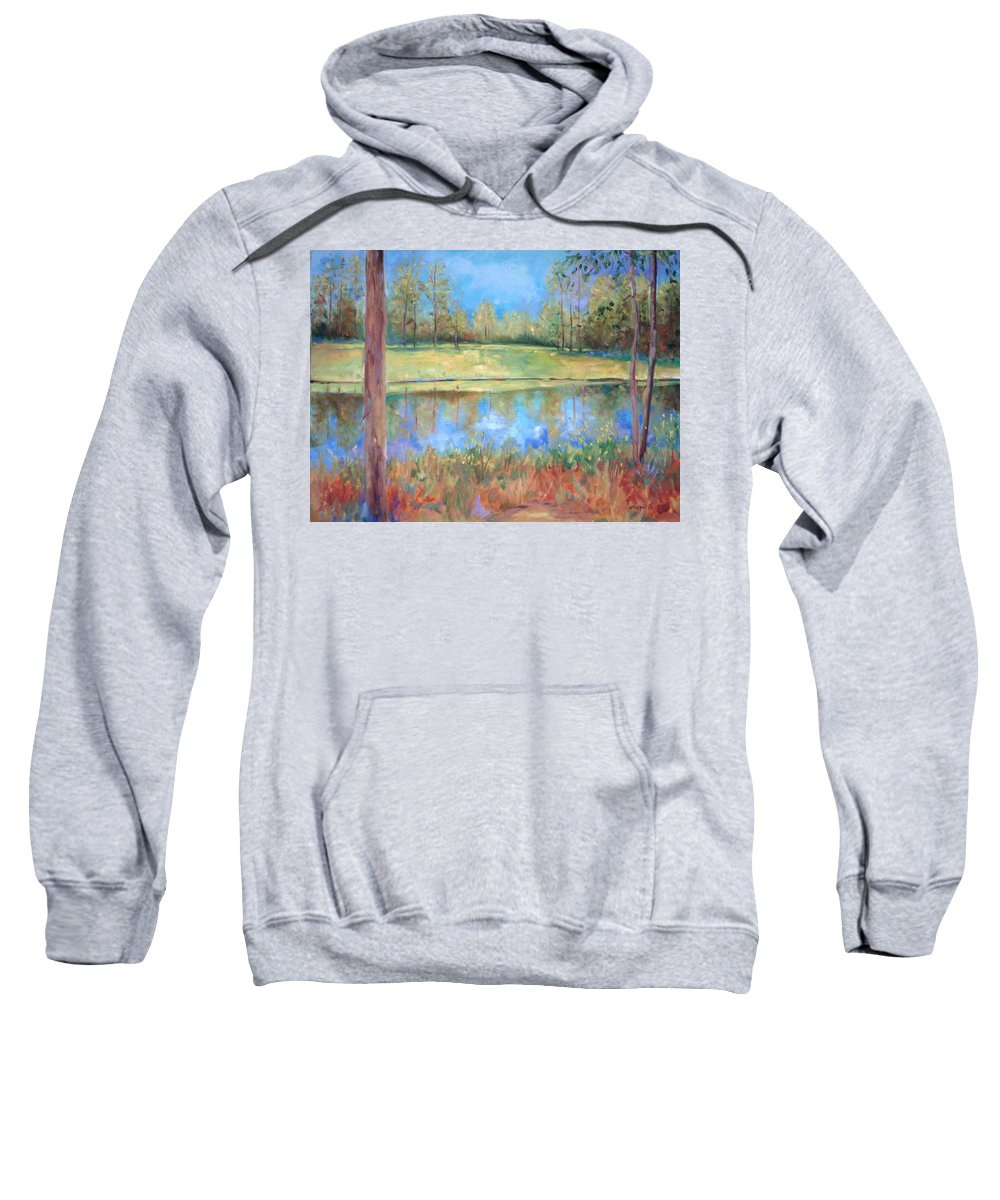 Ponds Sweatshirt featuring the painting Cherry Moon Pond by Ginger Concepcion