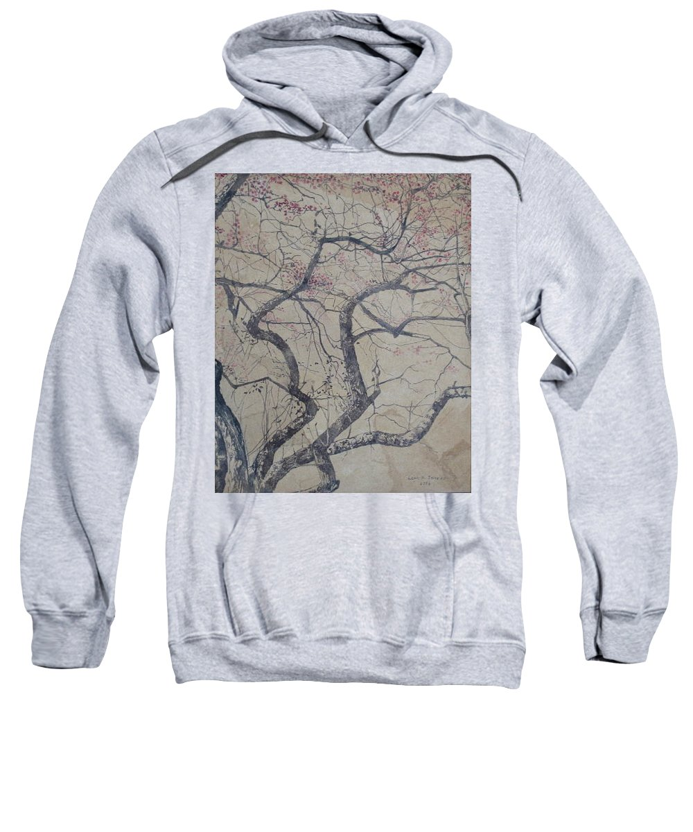 Crab Apple Sweatshirt featuring the painting Prairie Fire by Leah Tomaino
