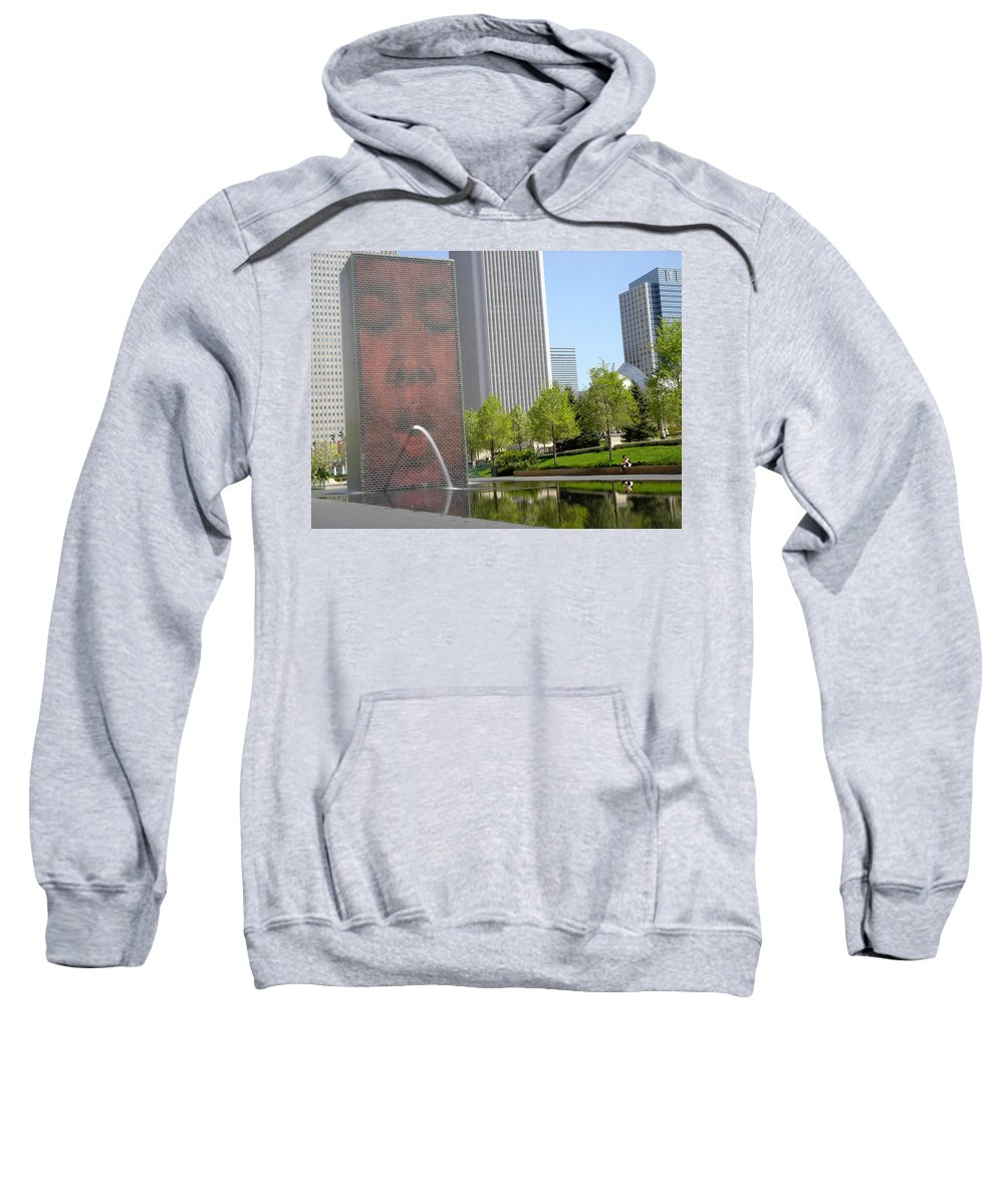 Chicago Sweatshirt featuring the photograph Chicago Crown Fountain 8 by Jean Macaluso