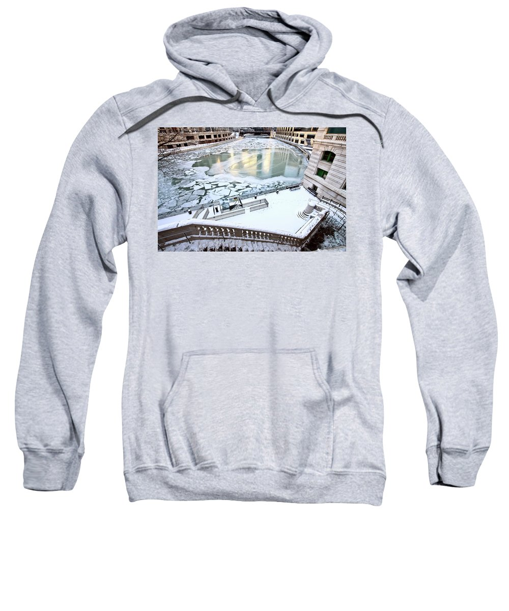 Chicago Sweatshirt featuring the digital art Chicago Downtown City by Mark Duffy