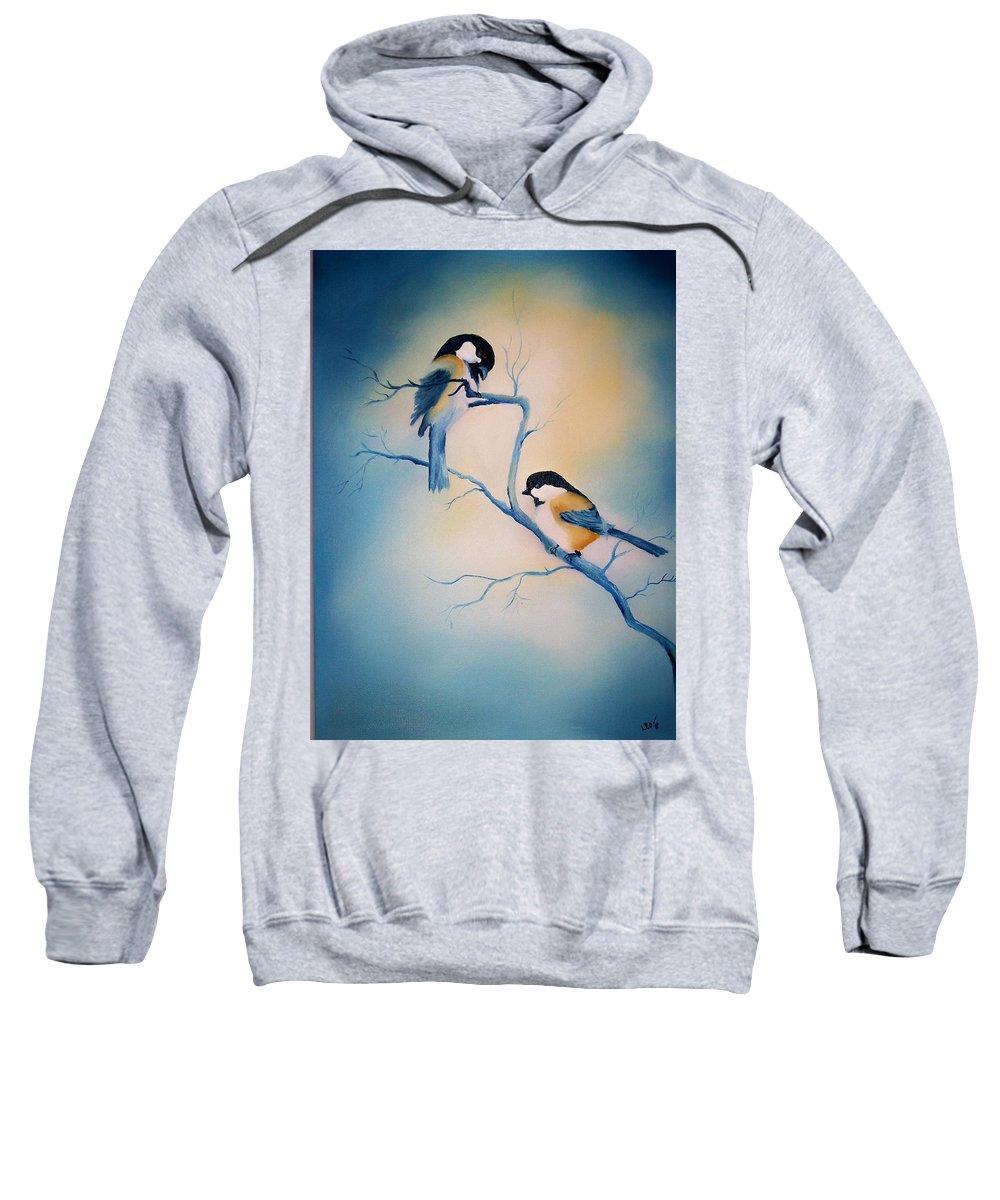 Birds Sweatshirt featuring the painting Chickadees by Leo Gordon