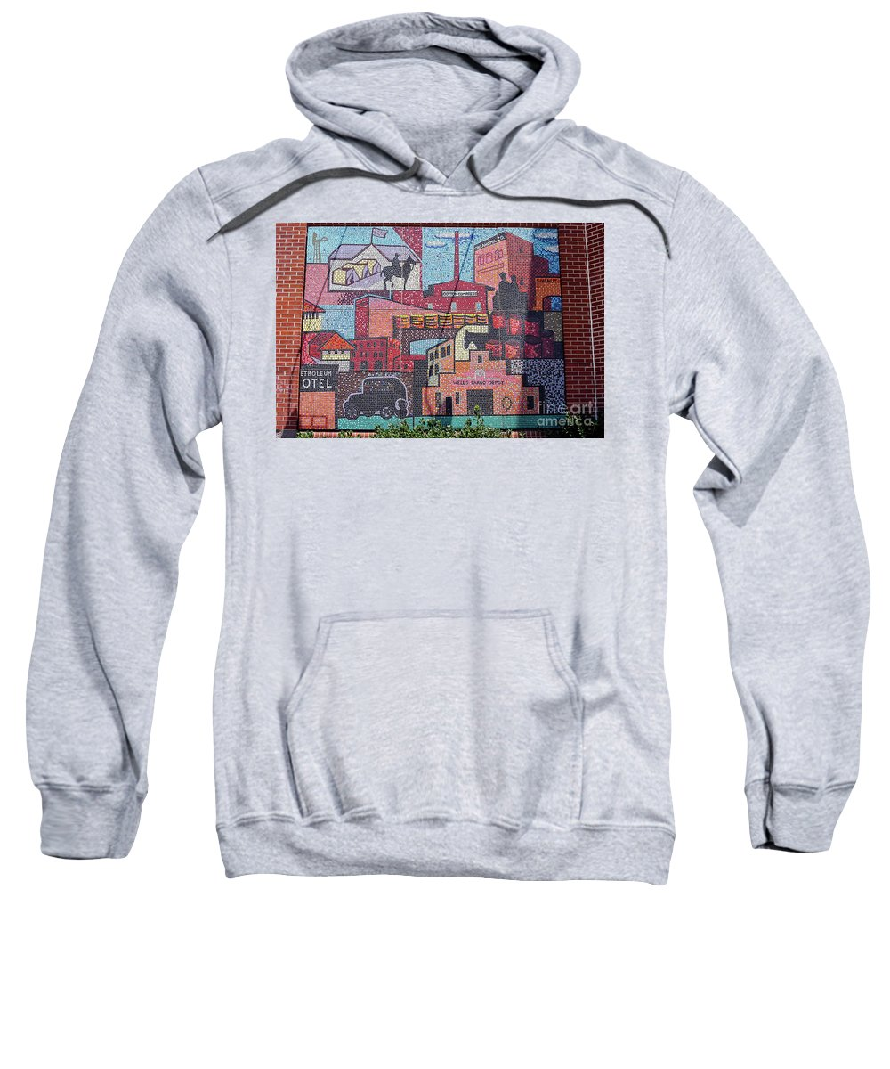 Oklahoma City Oklahoma Chickasaw Ballpark Architecture City Cities Cityscape Cityscapes Bricktown Mosaics Mosaic Tile Tiles Street Art Artwork Sweatshirt featuring the photograph Chickasaw Ballpark Mosaic Wall by Bob Phillips