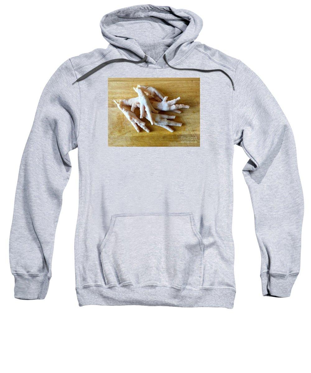 Chicken Sweatshirt featuring the photograph Chicken Feet Without Toenails by Henrik Lehnerer