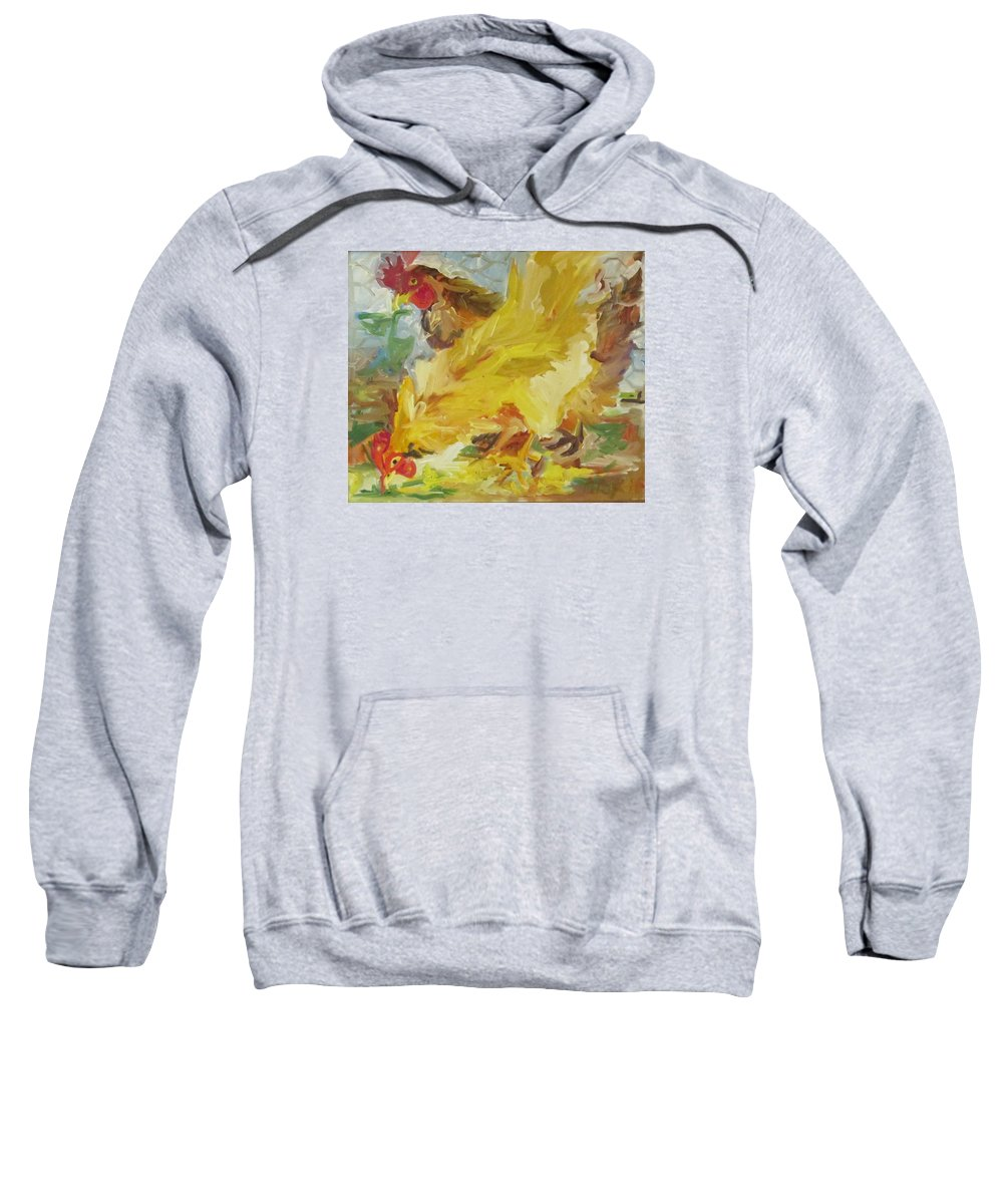 Pair Of Chickens In The Yard   Sweatshirt featuring the painting Chickens by Pat Gray