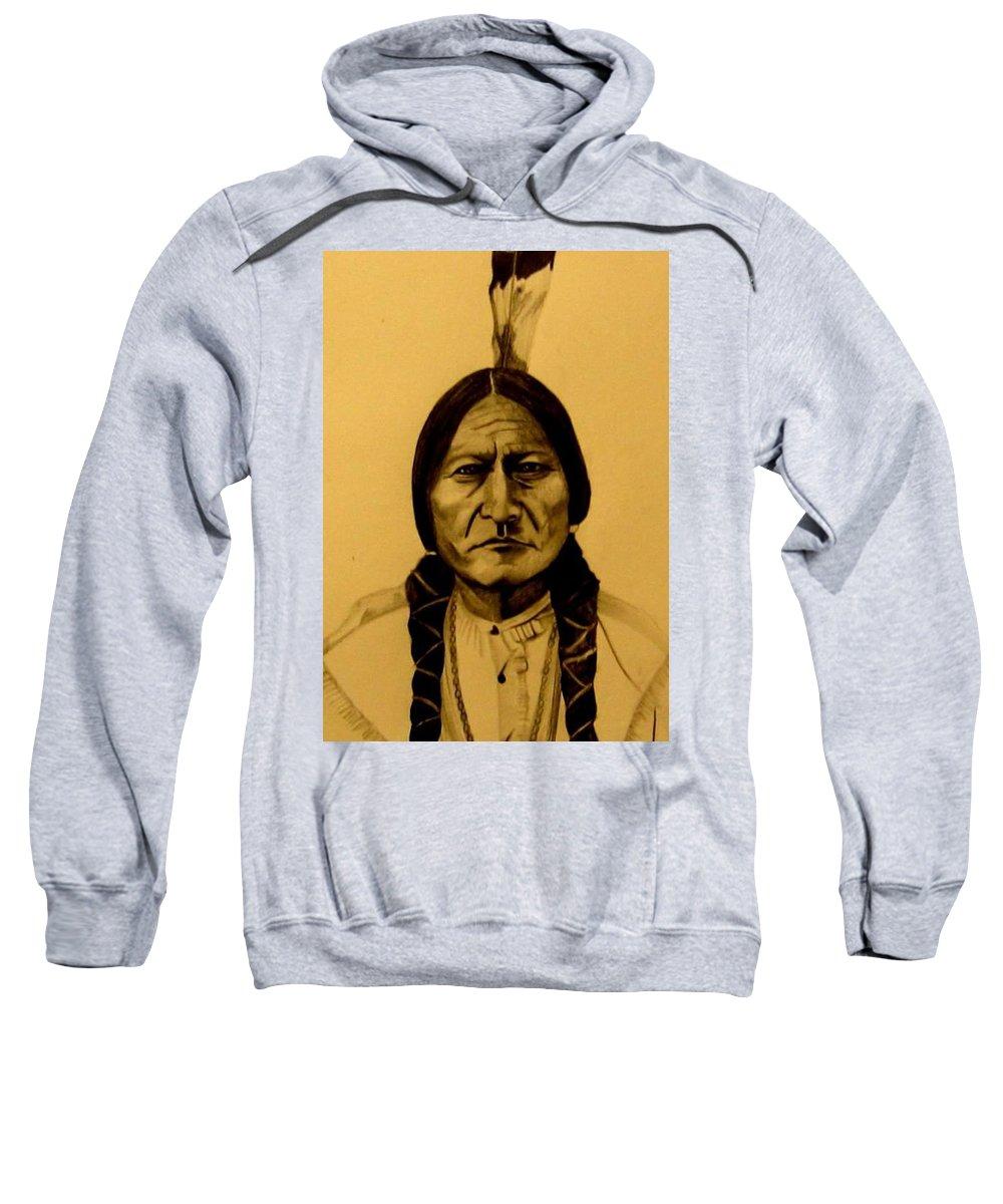 Portrait Sweatshirt featuring the drawing Chief Sitting Bull Tatanka Iyotake by Michelle Dallocchio