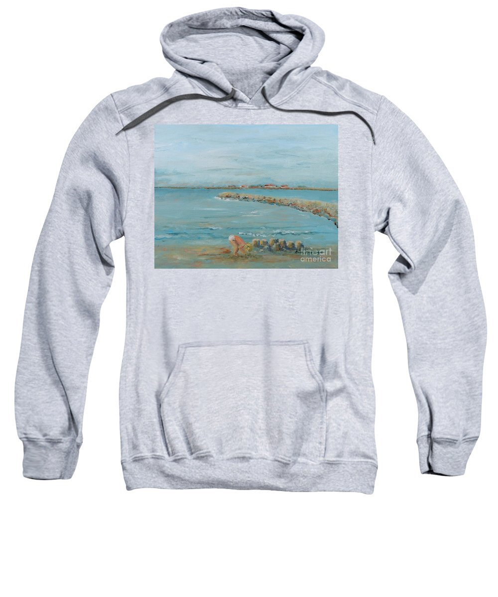 Beach Sweatshirt featuring the painting Child Playing At Provence Beach by Nadine Rippelmeyer