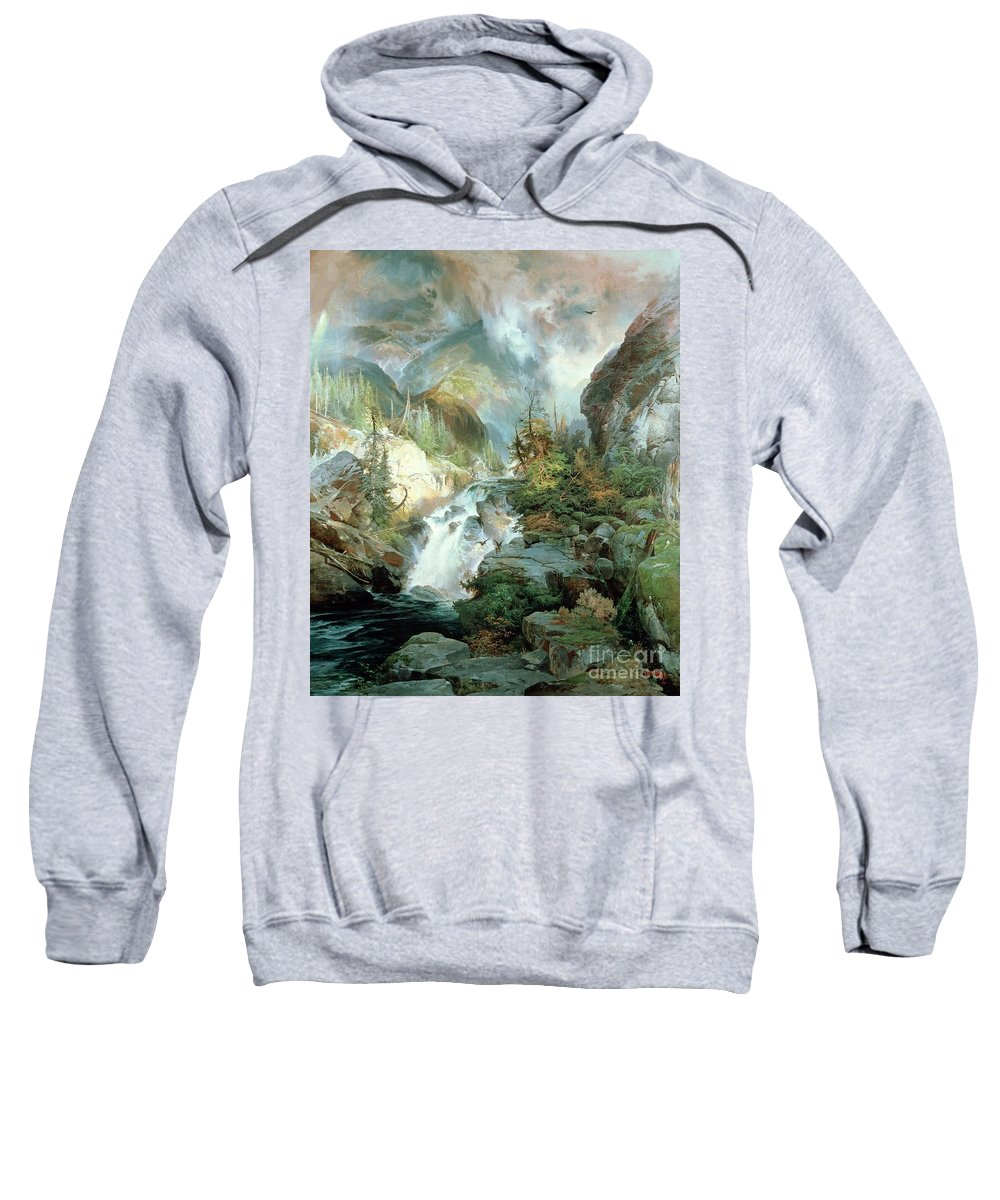 Children Of The Mountain Sweatshirt featuring the painting Children Of The Mountain by Thomas Moran
