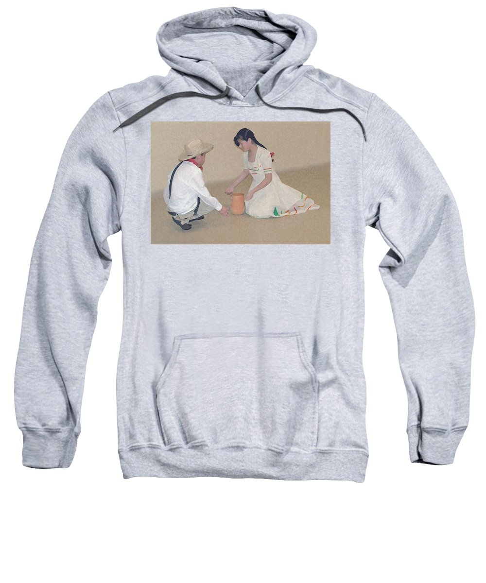 Children Sweatshirt featuring the digital art Children Playing by Robert Meanor