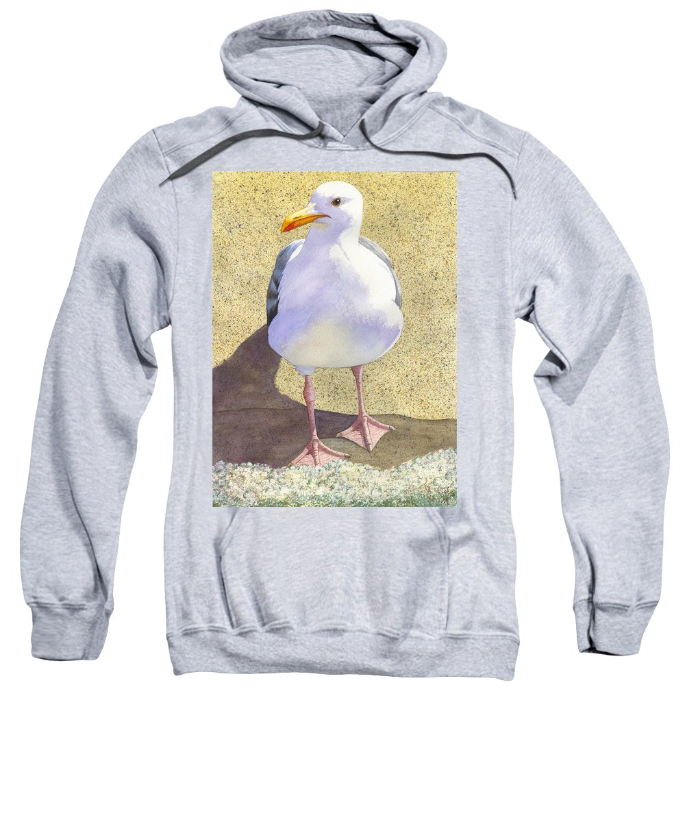 Seagull Sweatshirt featuring the painting Chilly by Catherine G McElroy