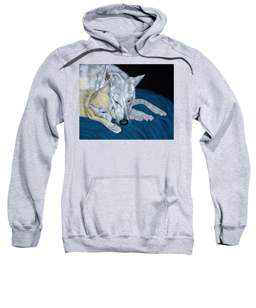 Animal Sweatshirt featuring the painting Chimaya And Dakota by Lana Tyler