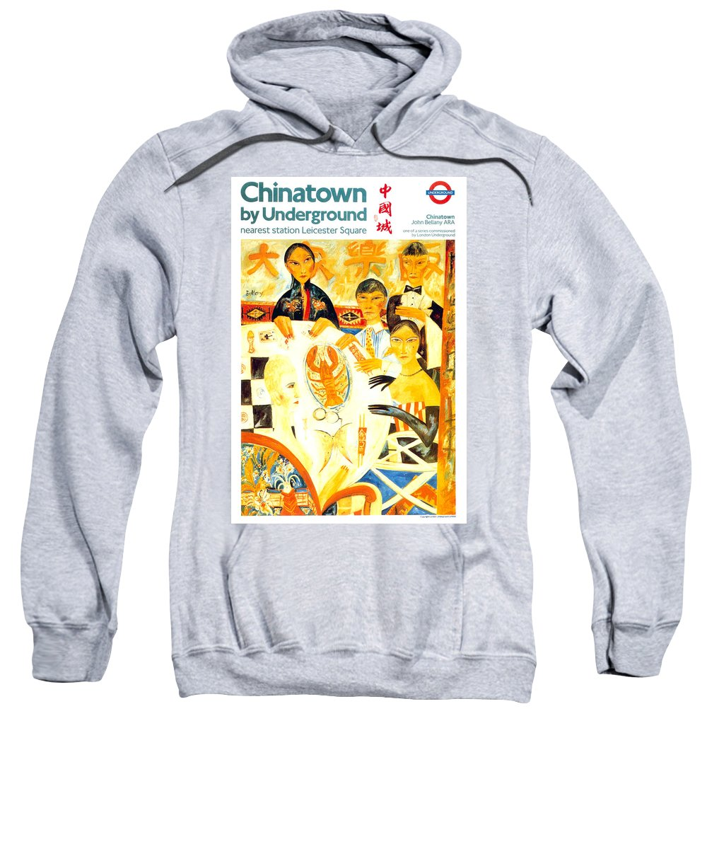 Chinatown Sweatshirt featuring the mixed media Chinatown By Underground - Leicester Square - London Underground - Retro Travel Poster by Studio Grafiikka