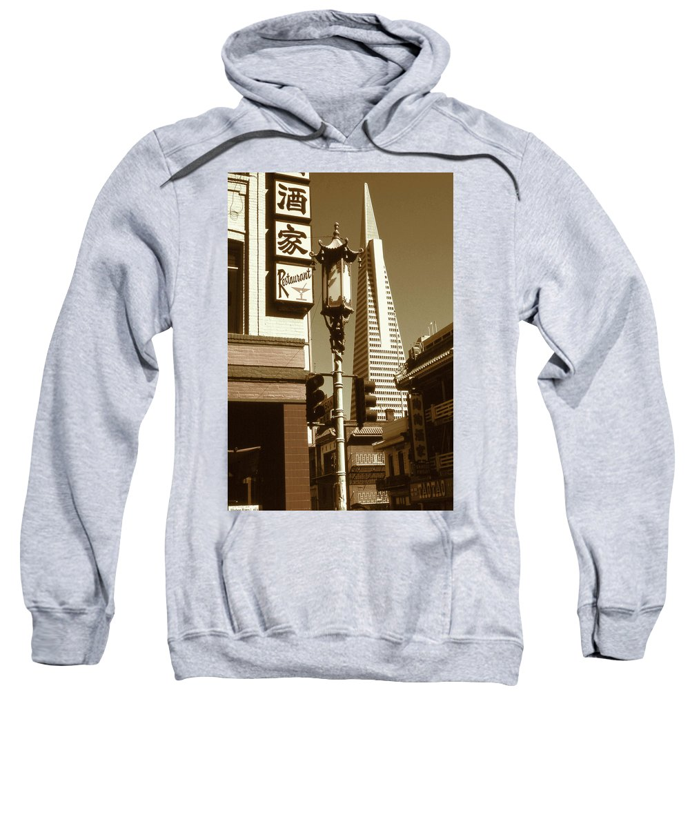 San+francisco Sweatshirt featuring the photograph San Francisco Chinatown And Pyramid by Peter Potter