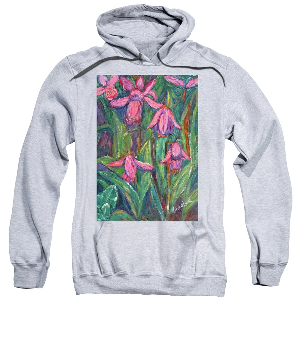 Floral Sweatshirt featuring the painting Chinese Orchids by Kendall Kessler