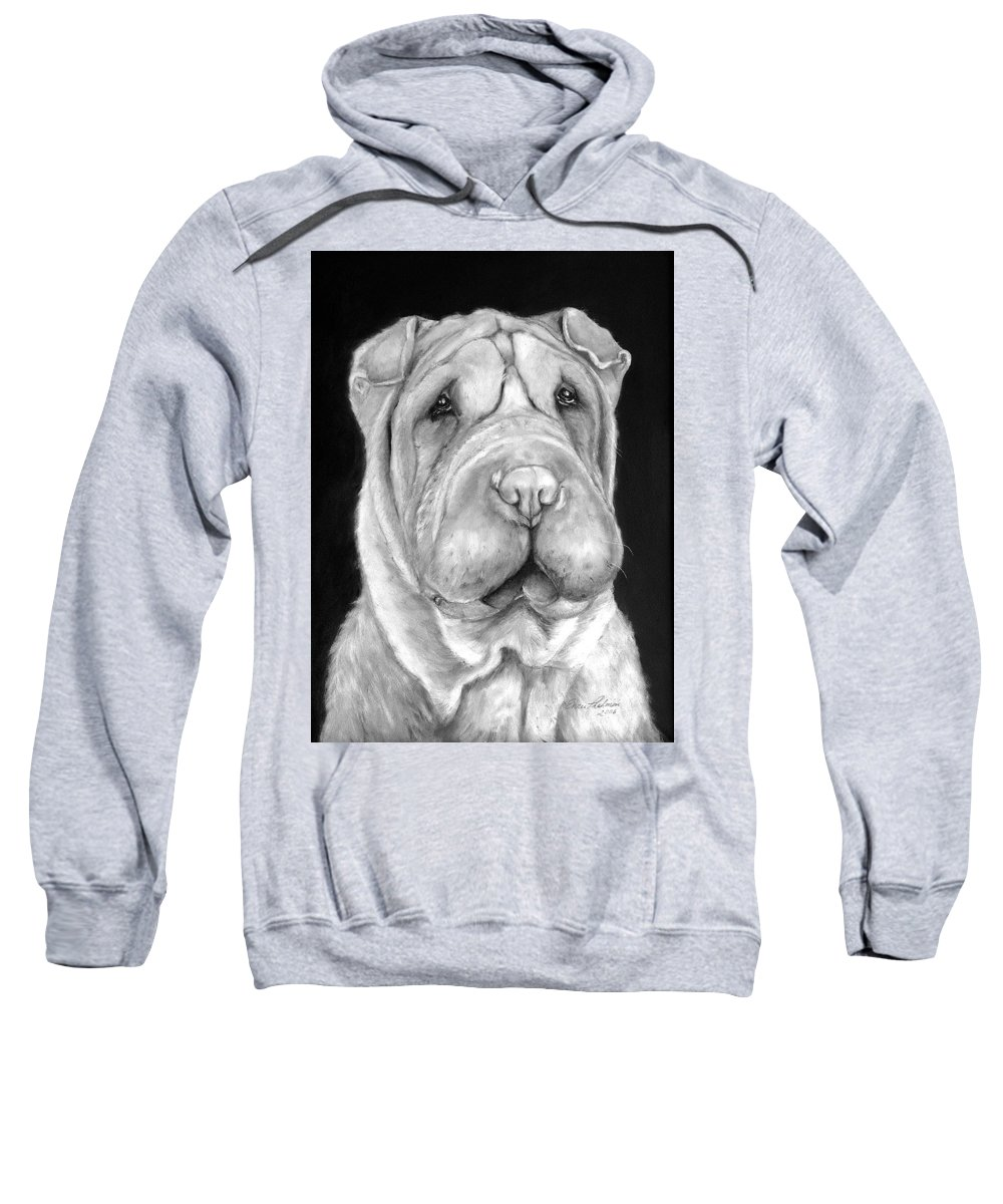 Sharpei Sweatshirt featuring the painting Chinese Sharpei by Portraits By NC