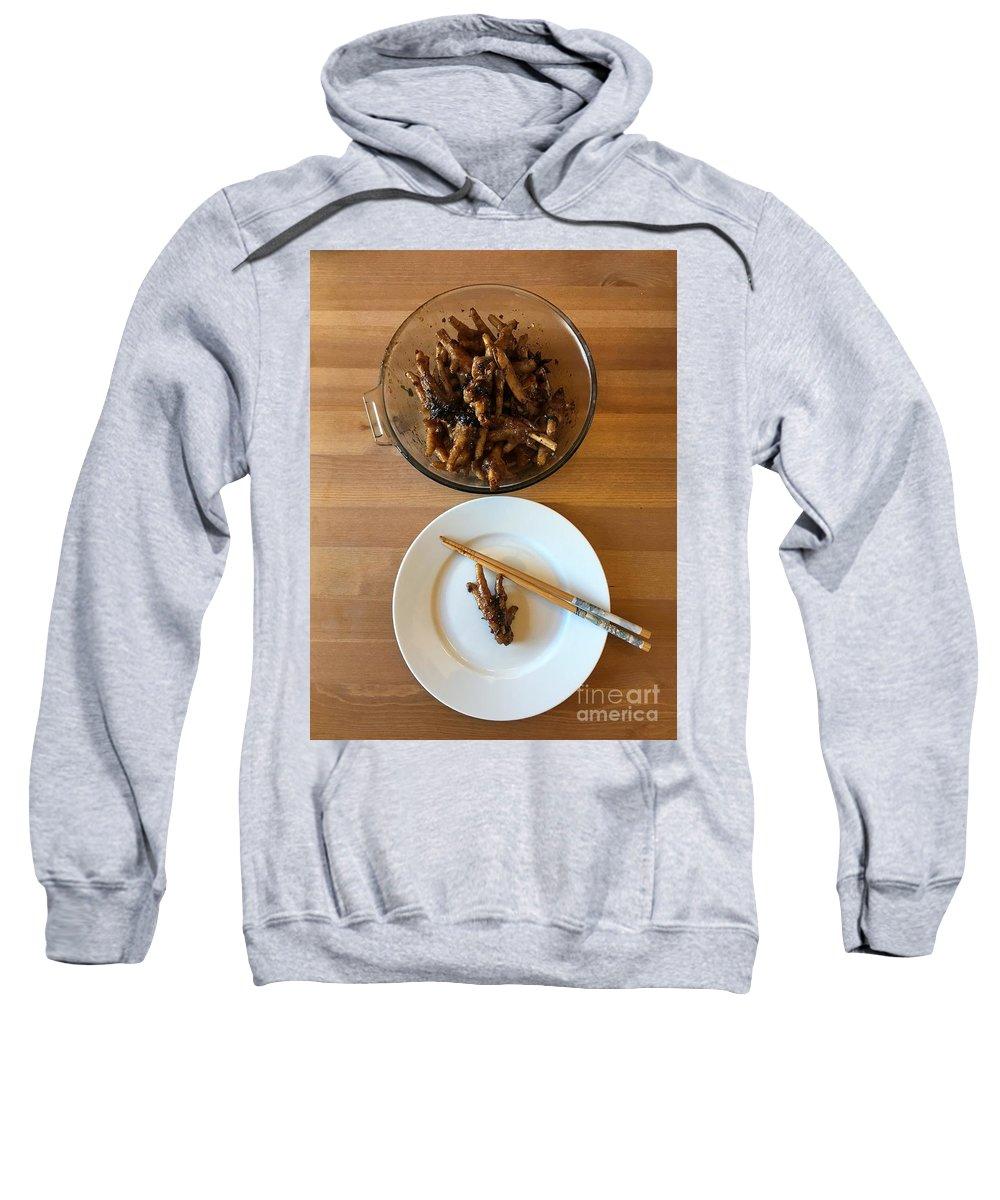 Chicken Sweatshirt featuring the photograph Chinese Spicy Chicken Feet by Henrik Lehnerer