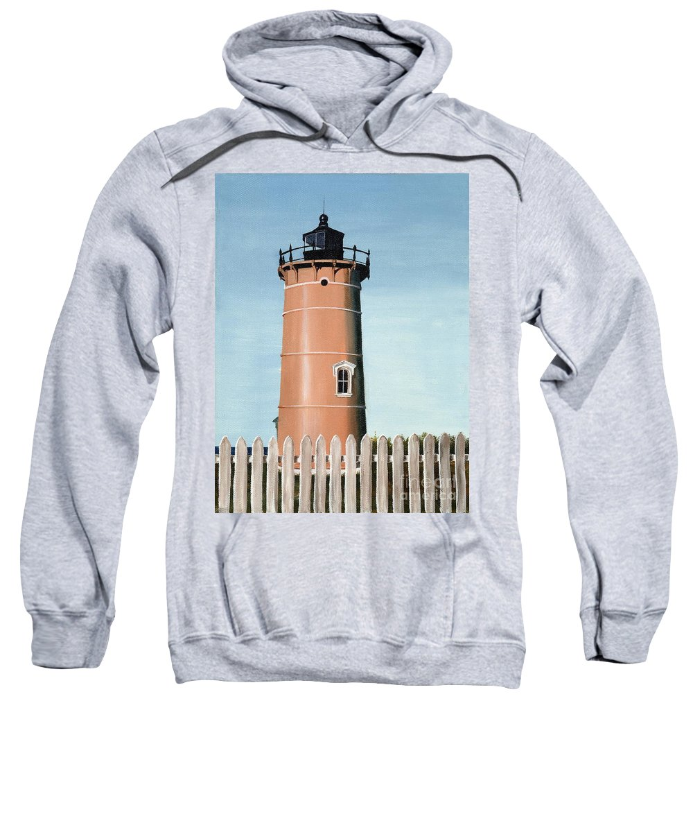 Lighthouse Sweatshirt featuring the painting Chocolate Lighthouse by Mary Rogers