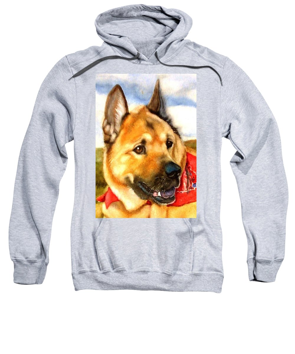 Chow Sweatshirt featuring the painting Chow Shepherd Mix by Marilyn Jacobson