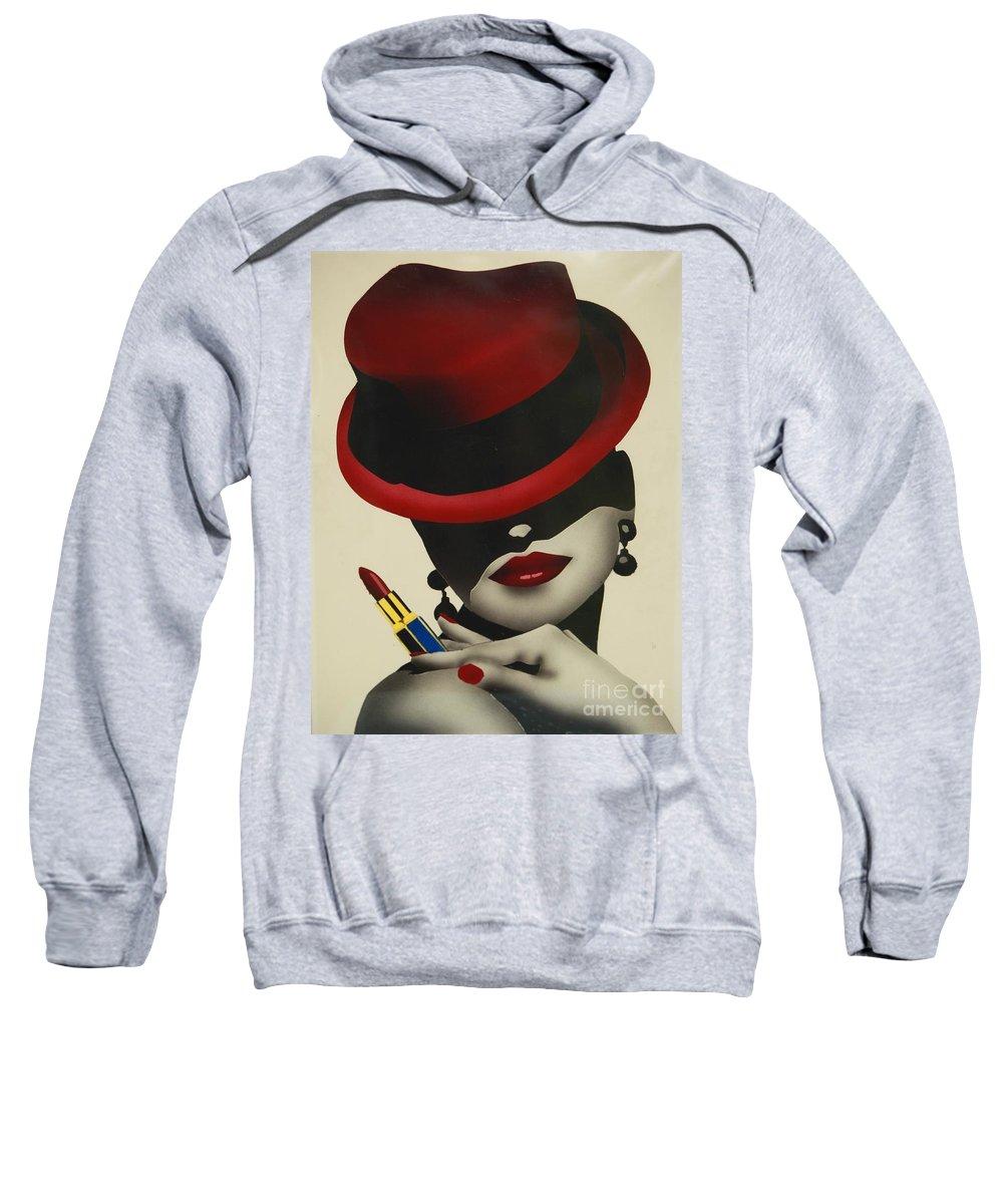 Christion Dior Red Hat Lady Sweatshirt featuring the painting Christion Dior Red Hat Lady by Jacqueline Athmann