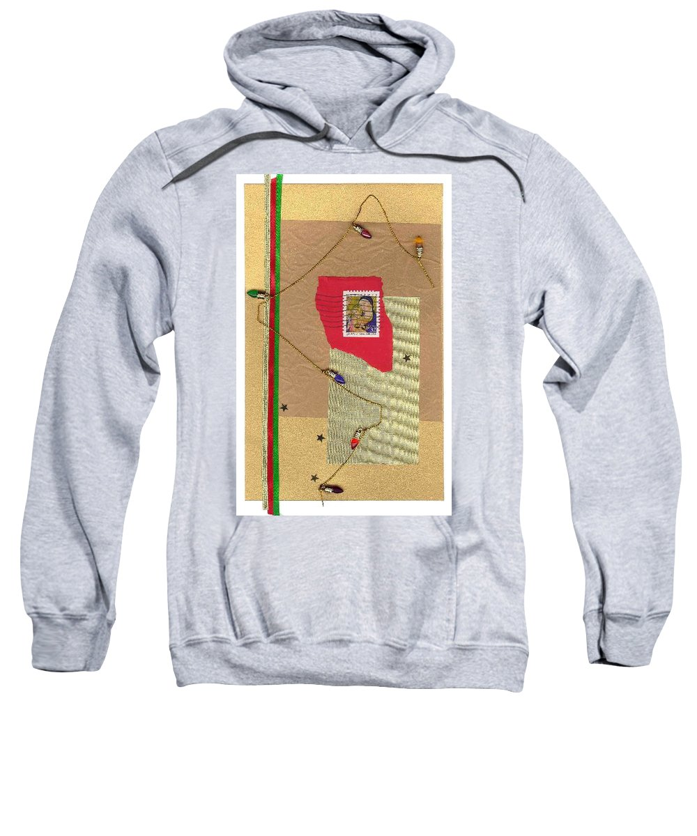 Christmas Sweatshirt featuring the mixed media Christmas Card by Steve Karol