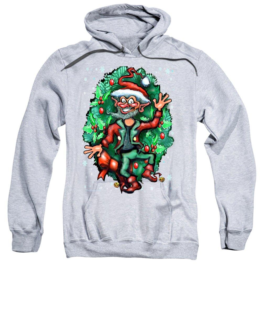 Christmas Sweatshirt featuring the digital art Christmas Elf by Kevin Middleton
