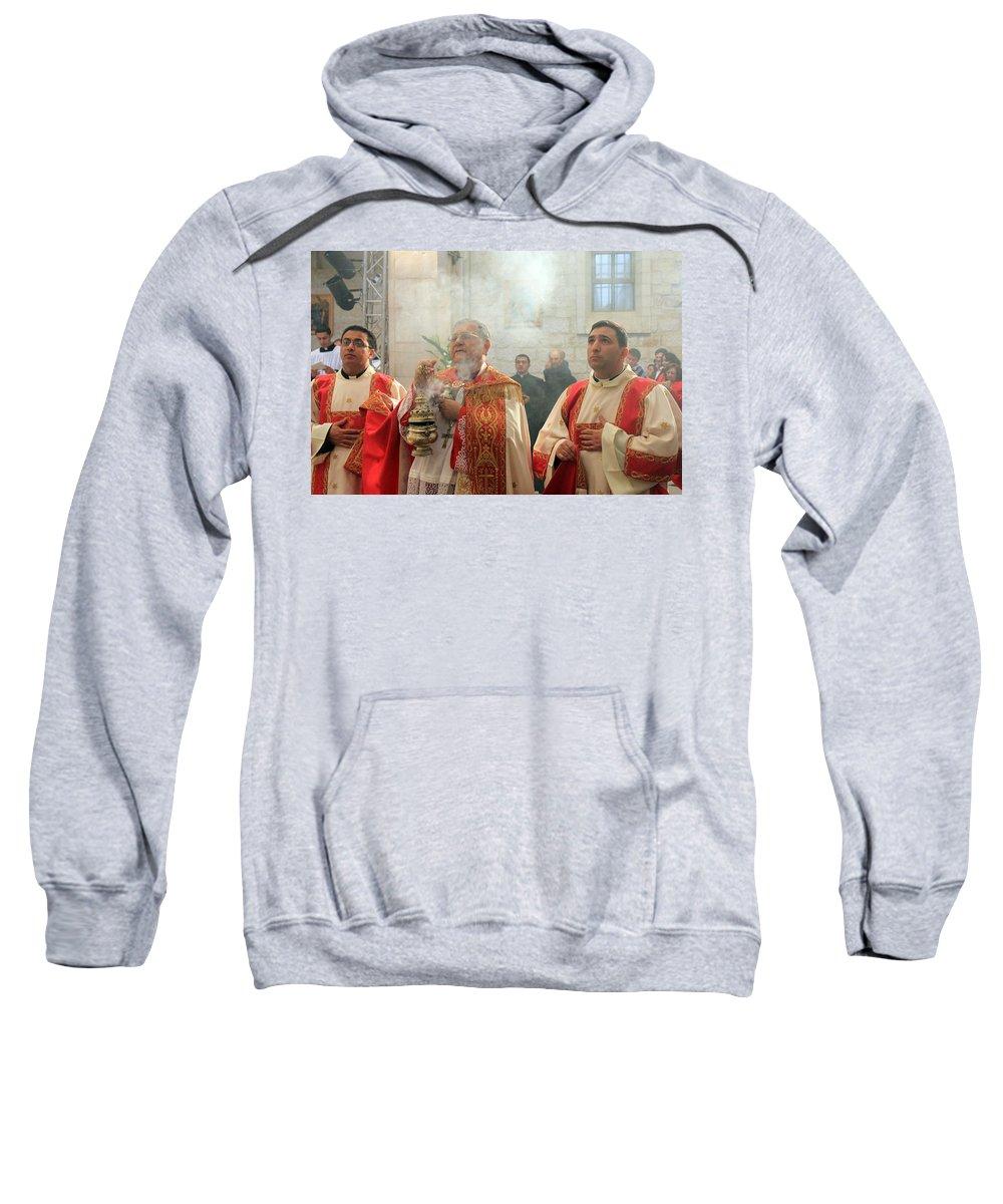 Bethlehem Sweatshirt featuring the photograph Christmas Mass 2010 by Munir Alawi