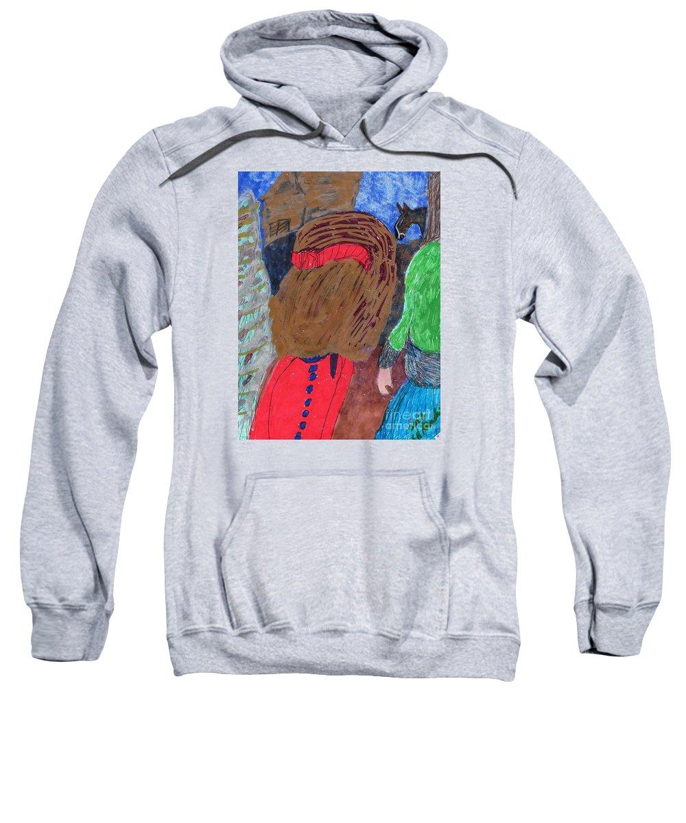 Two Ladies Gazing At A Horse In The Background Sweatshirt featuring the mixed media Christmas On A Farm by Elinor Helen Rakowski