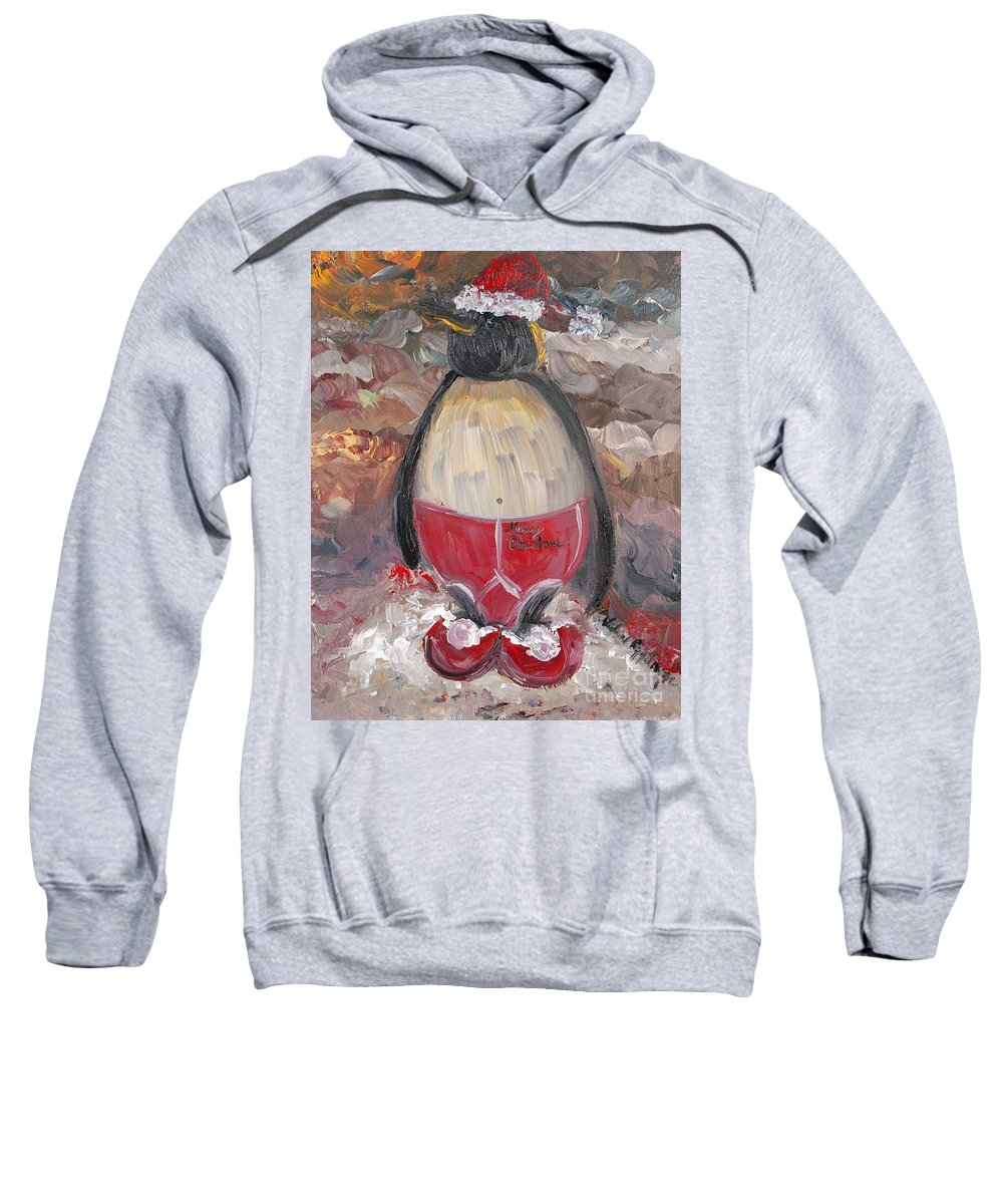 Penguin Sweatshirt featuring the painting Christmas Penguin by Nadine Rippelmeyer