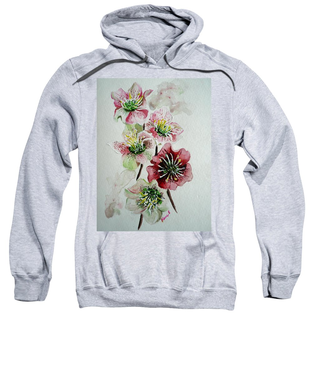 Floral Flower Pink Sweatshirt featuring the painting Christmas Rose by Karin Dawn Kelshall- Best