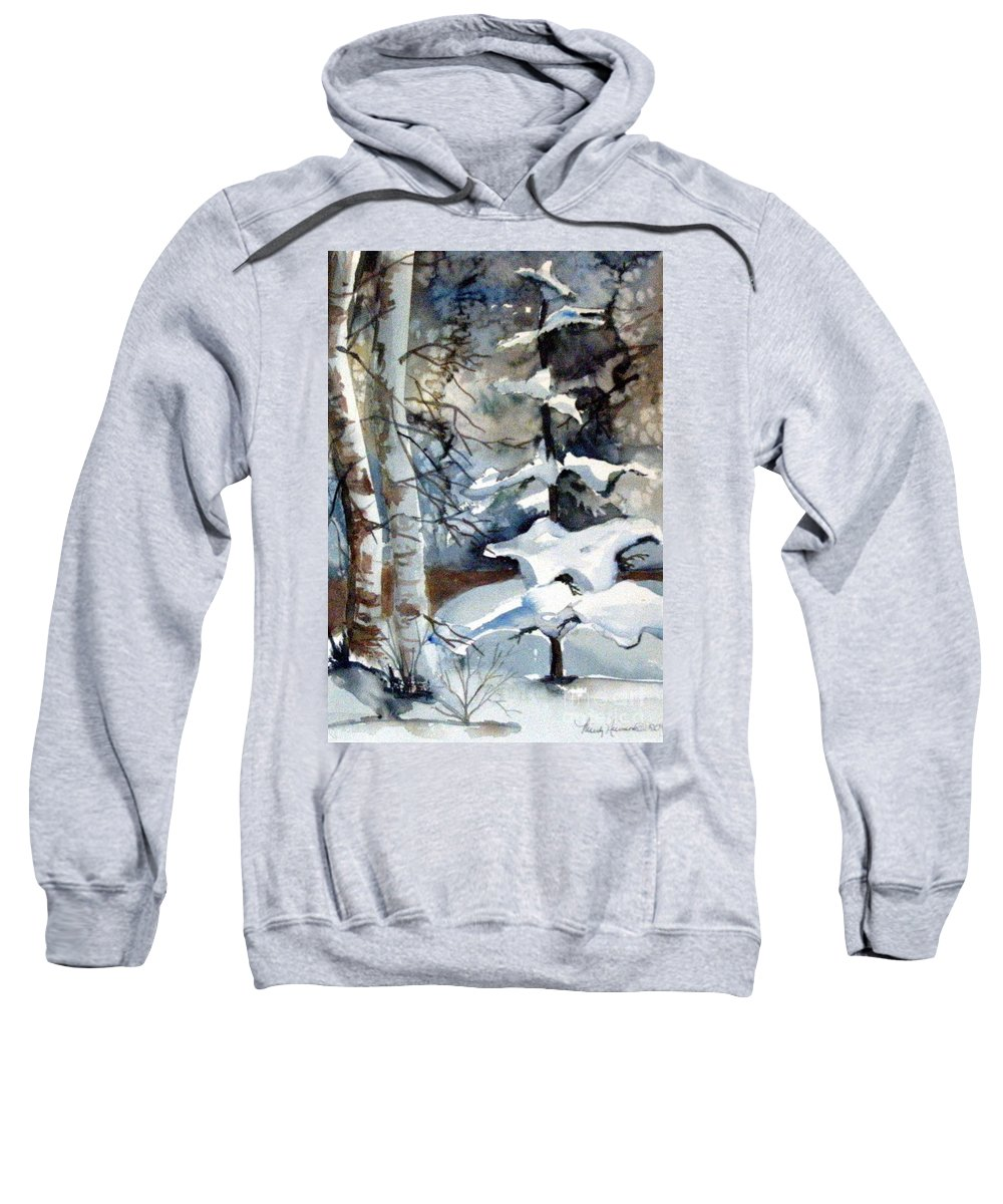 Christmas Trees Sweatshirt featuring the painting Christmas Trees by Mindy Newman