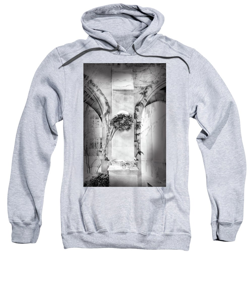 Winter Sweatshirt featuring the photograph Christmas Wreath In Winter by Jennifer Kelly