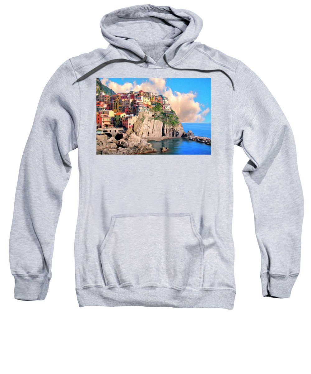 Italy Sweatshirt featuring the painting Cinque Terre by Dominic Piperata