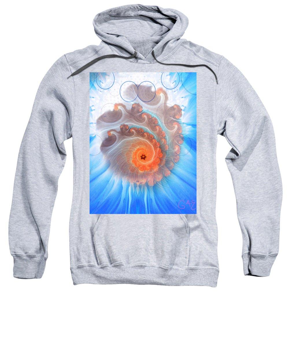Digital Sweatshirt featuring the digital art Circle Fire Blue by Gaela Cohen