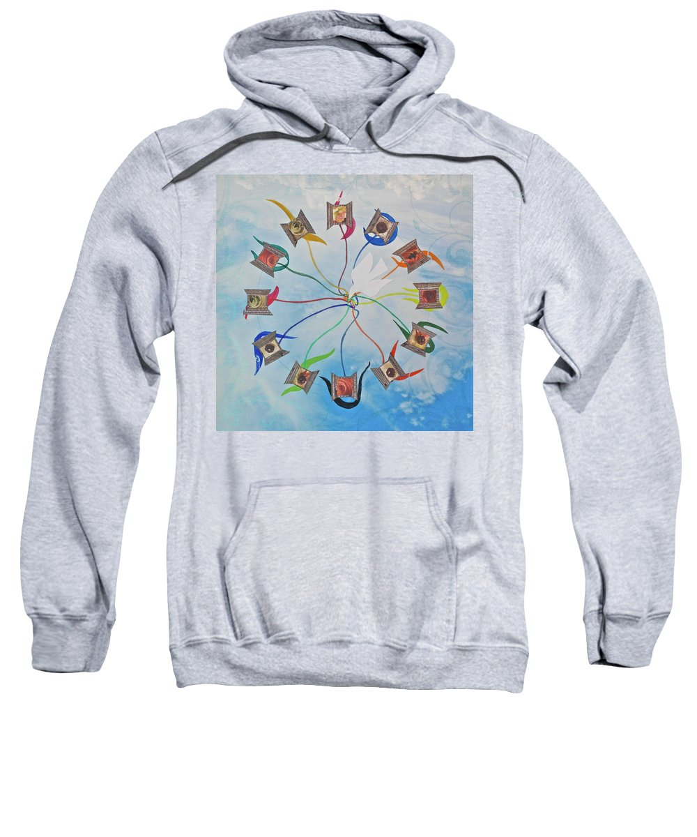 Circle Sweatshirt featuring the mixed media Circle Of Hearts by Michele Myers