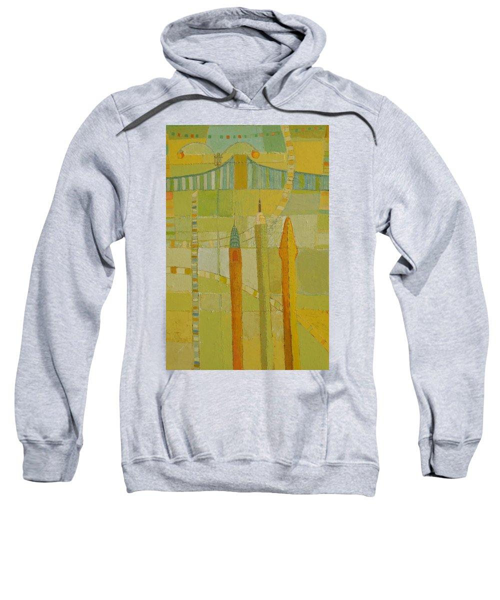 Nyc Sweatshirt featuring the painting City Icons by Habib Ayat
