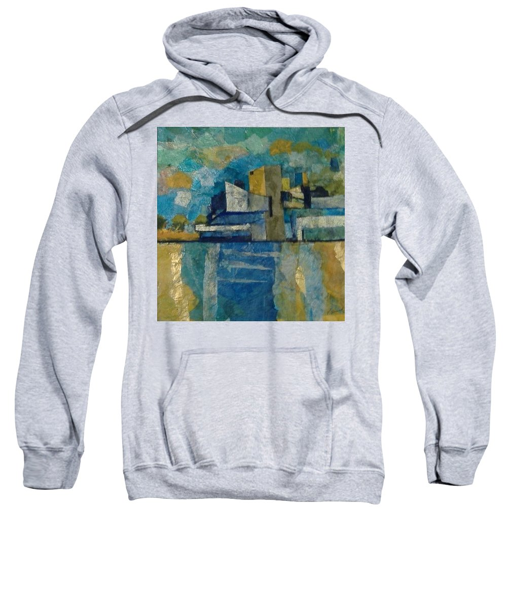 Sweatshirt featuring the mixed media City In Harmony by Pat Snook