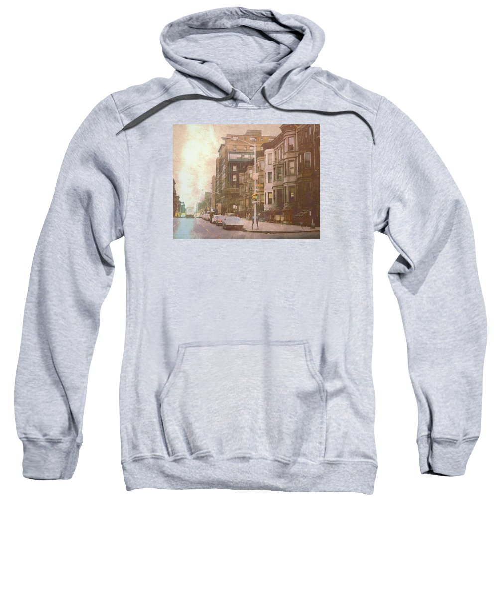 Sweatshirt featuring the digital art City Streets In Grunge 2 by Cathy Anderson