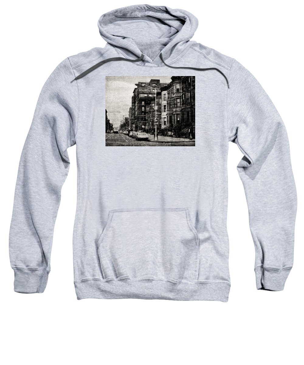 Sweatshirt featuring the photograph City Streets In Grunge by Cathy Anderson