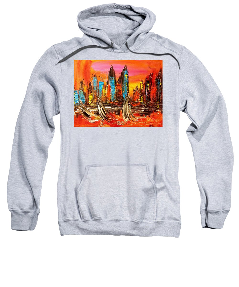 Landscape Framed Prints Sweatshirt featuring the painting Cityny by Mark Kazav