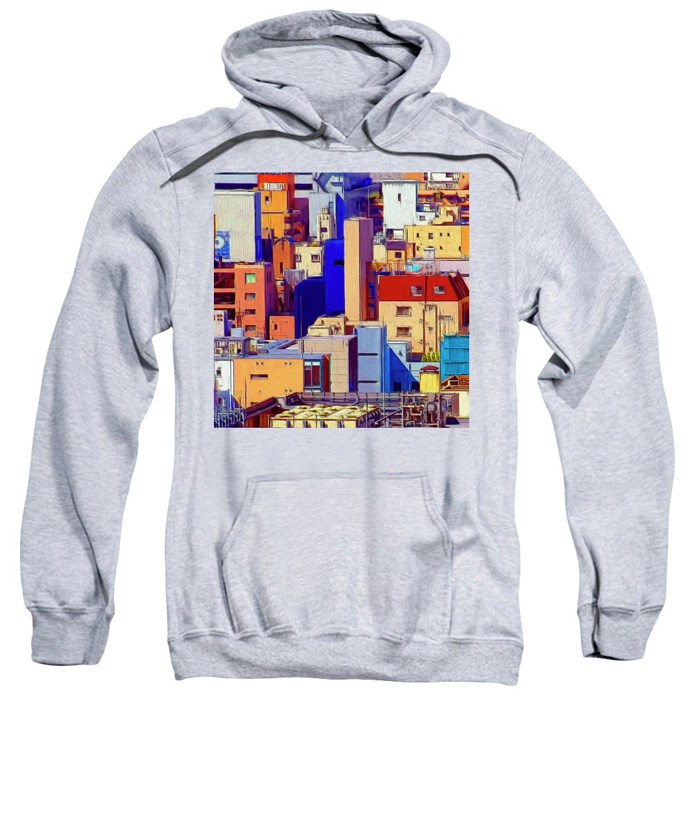 Cityscape Sweatshirt featuring the painting Cityscape by Dominic Piperata