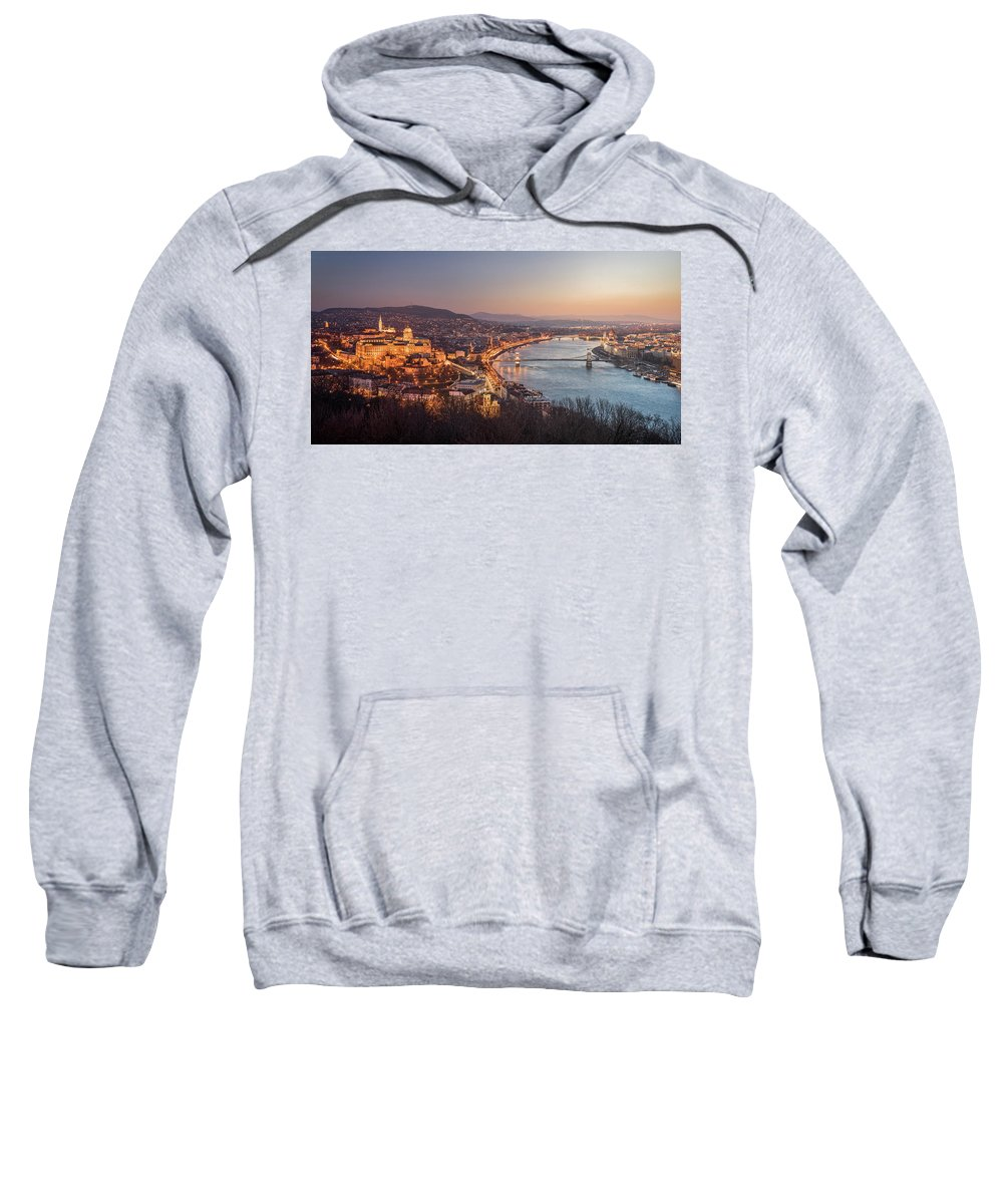 Budapest Sweatshirt featuring the photograph Cityscape Of Budapest, Hungary At Night And Day by Karol Czinege