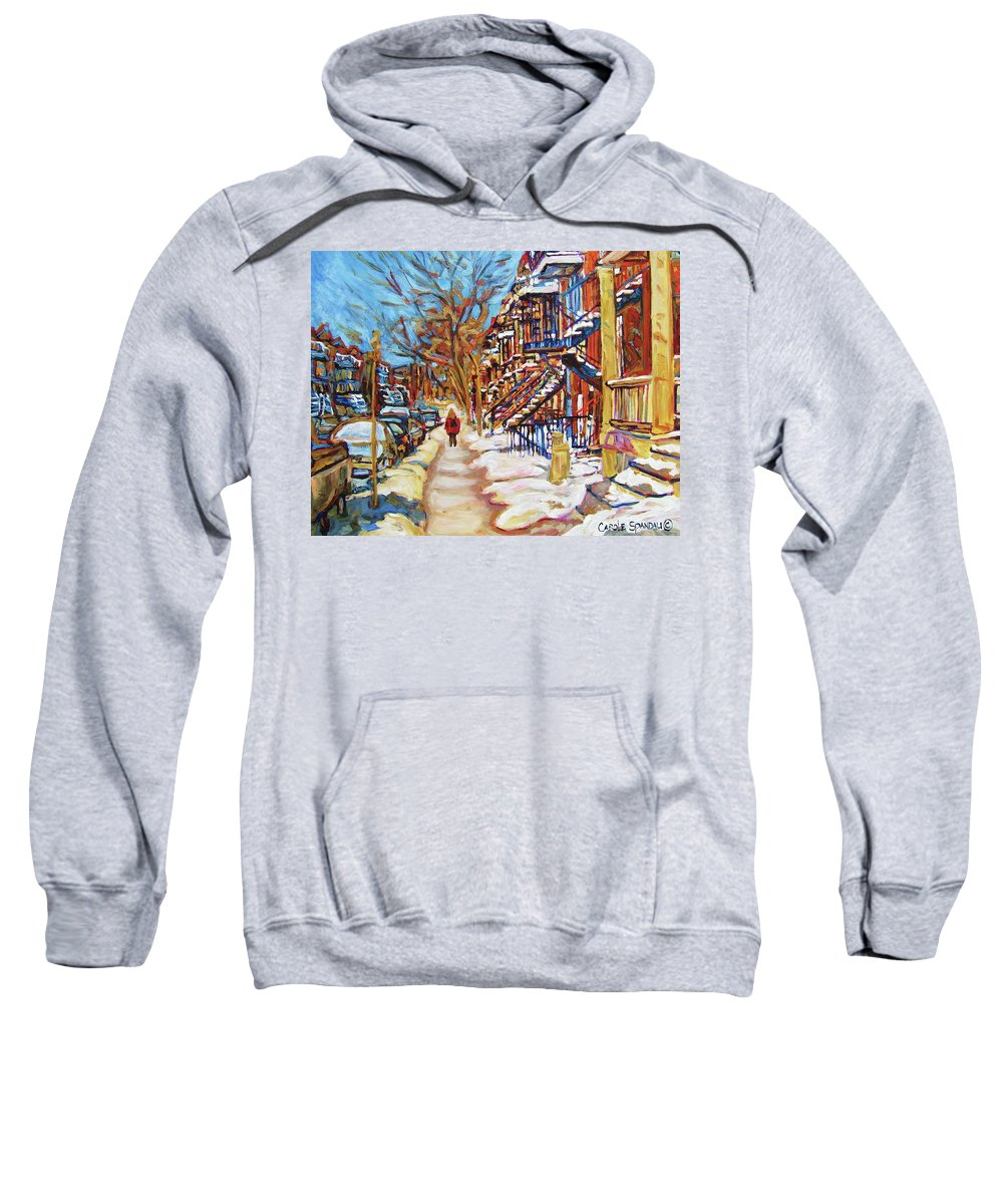 Montreal Sweatshirt featuring the painting Cityscene In Winter by Carole Spandau
