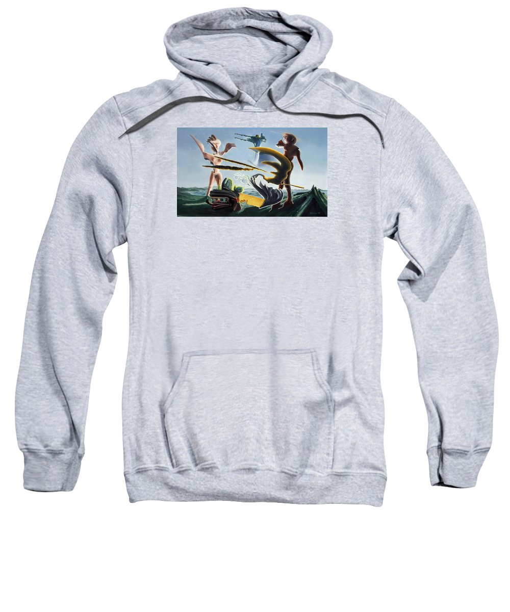 Landscape Sweatshirt featuring the painting Civilization Found Intact by Dave Martsolf