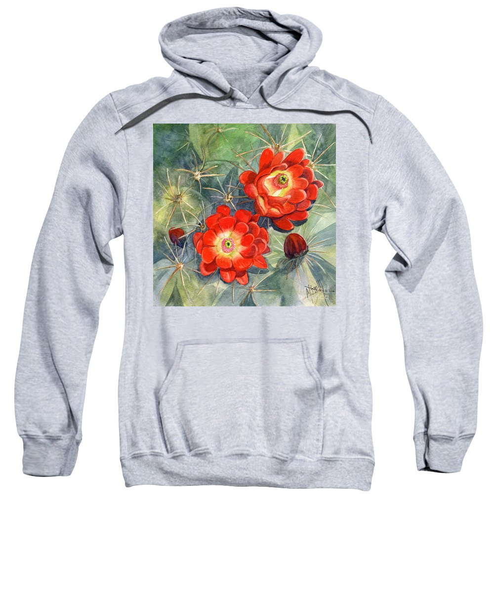 Claret Cup Sweatshirt featuring the painting Claret Cup Cactus by Marilyn Smith