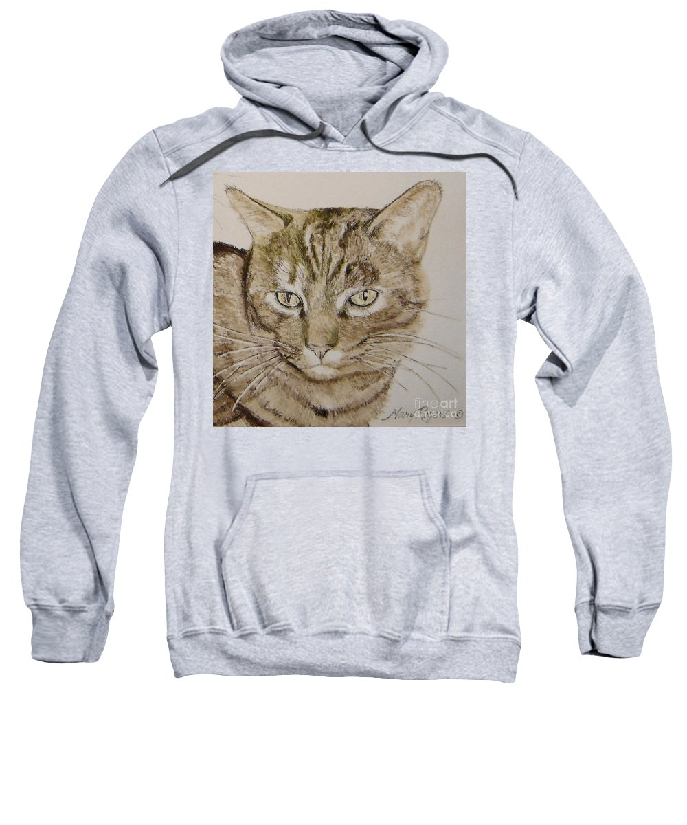 Cat Sweatshirt featuring the painting Clarise by Mary Rogers