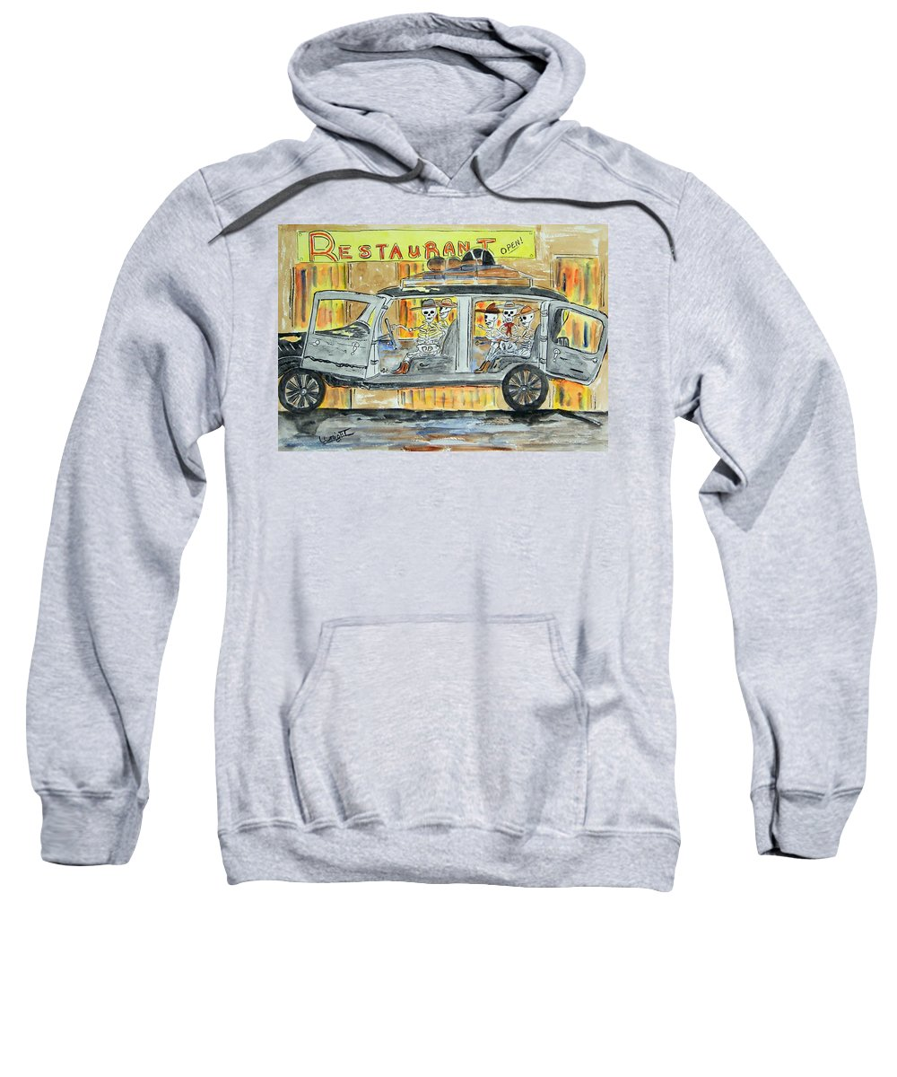 Skeletons Sweatshirt featuring the painting Classic Country Music Never Dies by Larry Wright