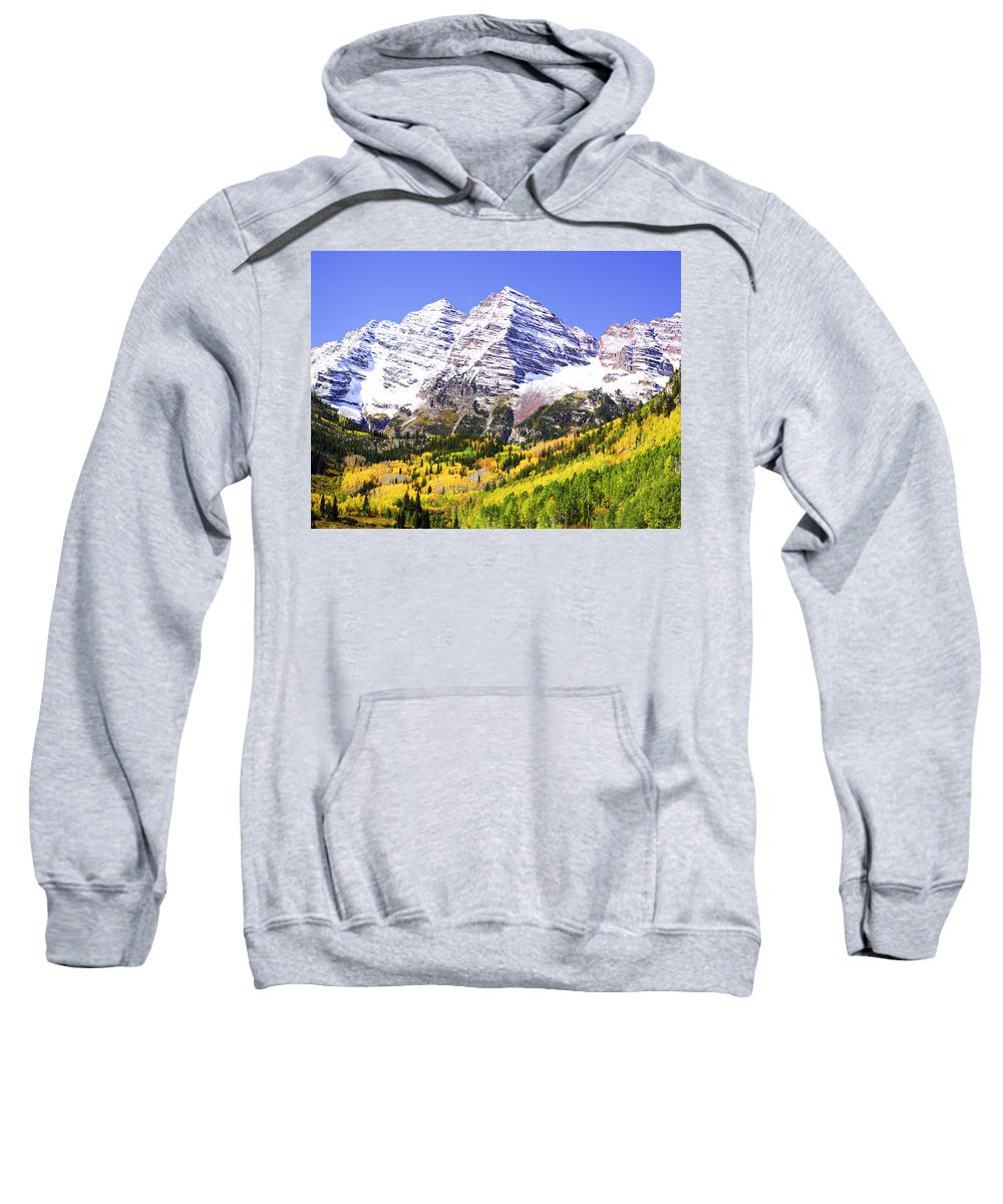 Americana Sweatshirt featuring the photograph Classic Maroon Bells by Marilyn Hunt