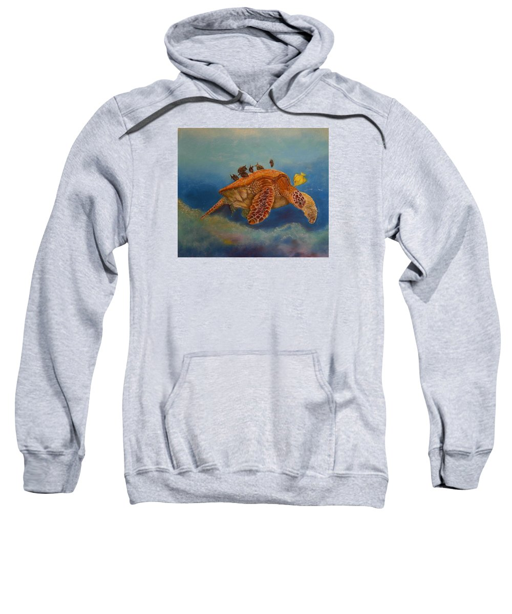 Turtle Sweatshirt featuring the painting Cleaning Station by Ceci Watson