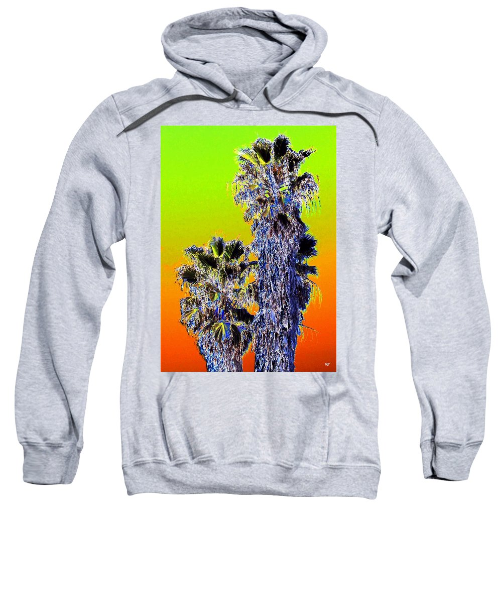 Abstract Sweatshirt featuring the digital art Clearlake Palm Trees by Will Borden