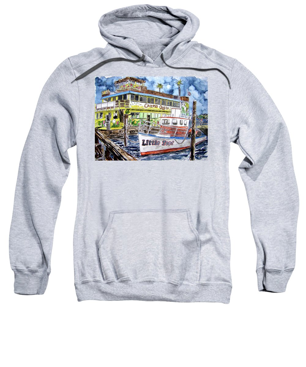 Seascape Sweatshirt featuring the painting Clearwater Florida Boat Painting by Derek Mccrea