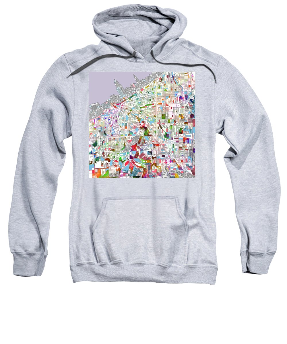Cleveland Sweatshirt featuring the painting Cleveland Map 2 by Bekim Art